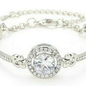 New Rhinestone HALO Bracelet Bangle Silver Plated